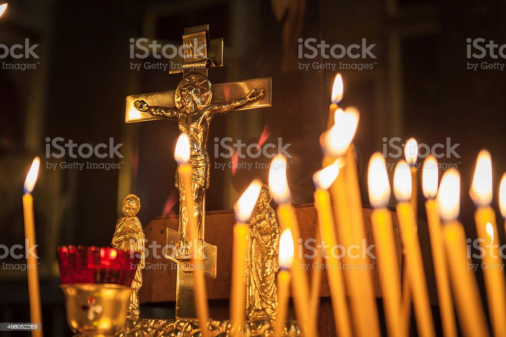 Candles in Kazan Cathedral stock photo