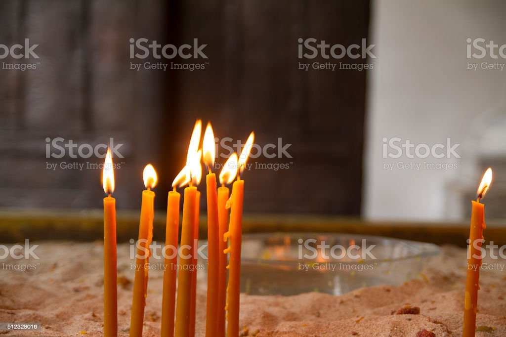 Candles in The Church stock photo
