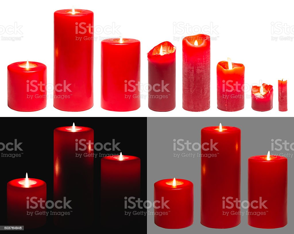 Candles Light, Red Candles White Black Background, clipping path stock photo