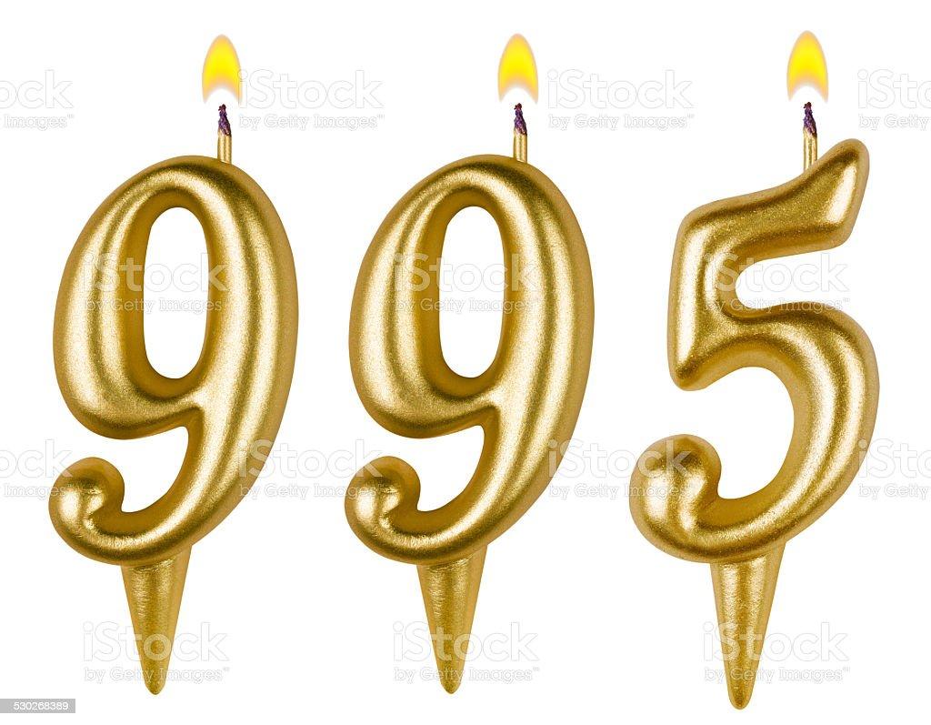 candles number nine hundred ninety-five isolated on white stock photo