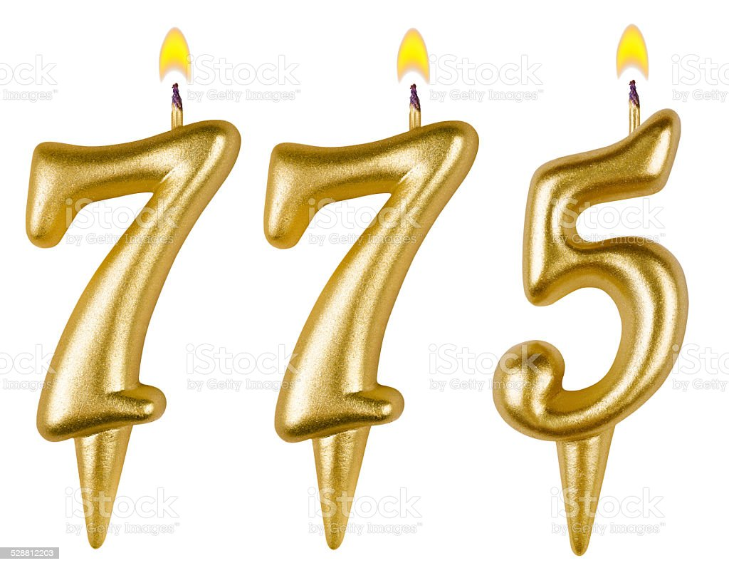candles number seven hundred seventy-five isolated stock photo