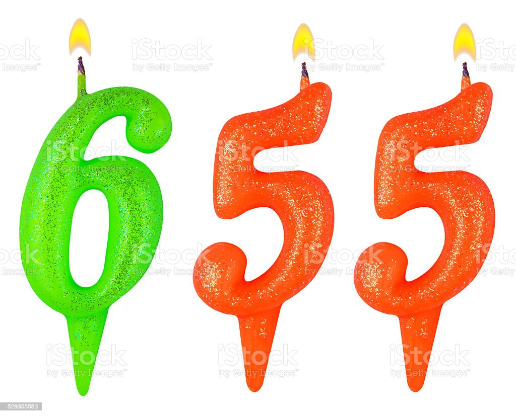 candles number six hundred fifty-five isolated on white stock photo