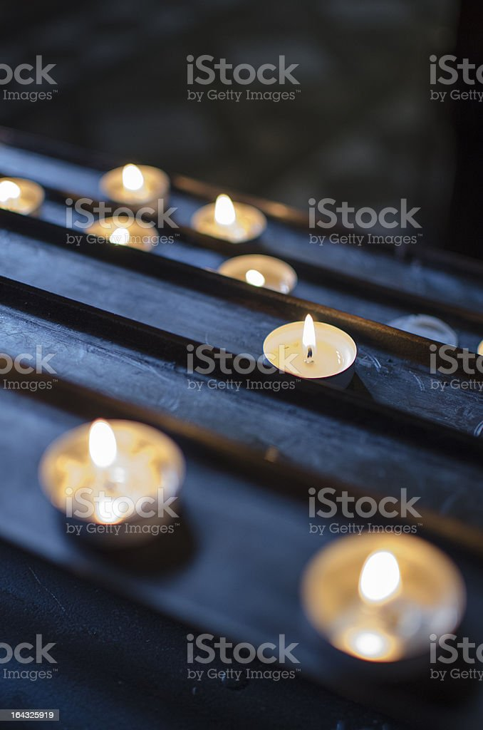 Candles on a Stand in Church stock photo