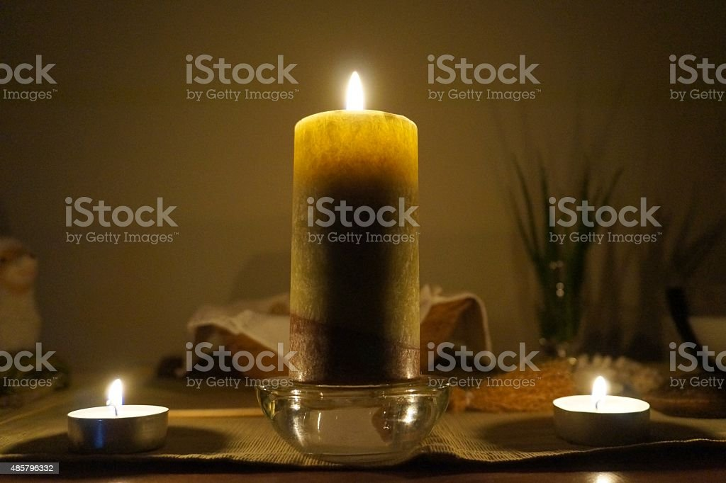 Candles on altar stock photo