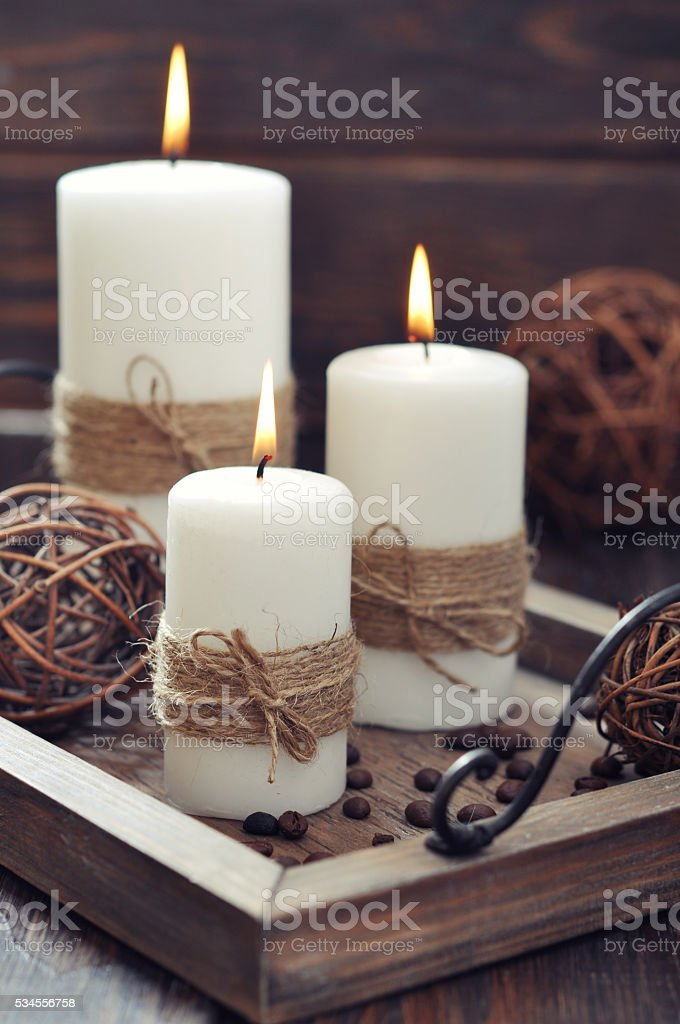 Candles on  vintage tray stock photo