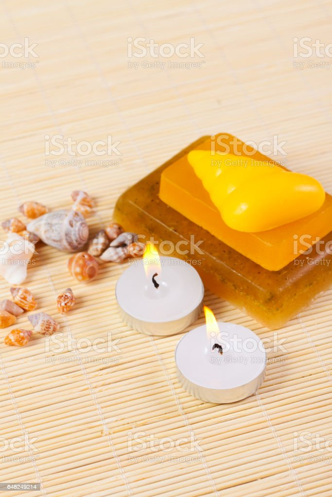 candles, soap and hells, still life spa stock photo