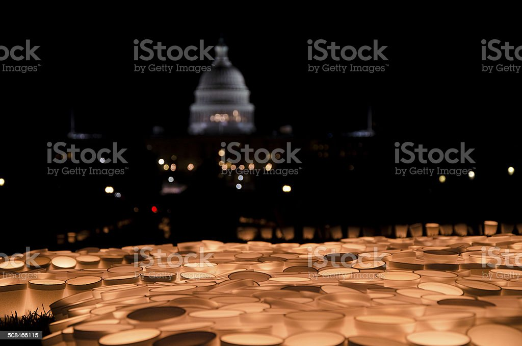 Candles viewing at US Capitol royalty-free stock photo