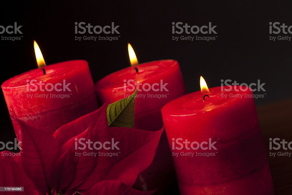 Candles with Poinsettia in the Foreground royalty-free stock photo