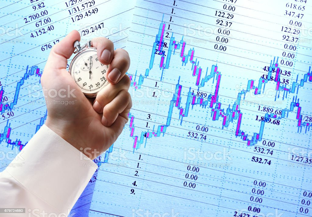 Candlestick chart graphic, budget and stopwatch in hand stock photo