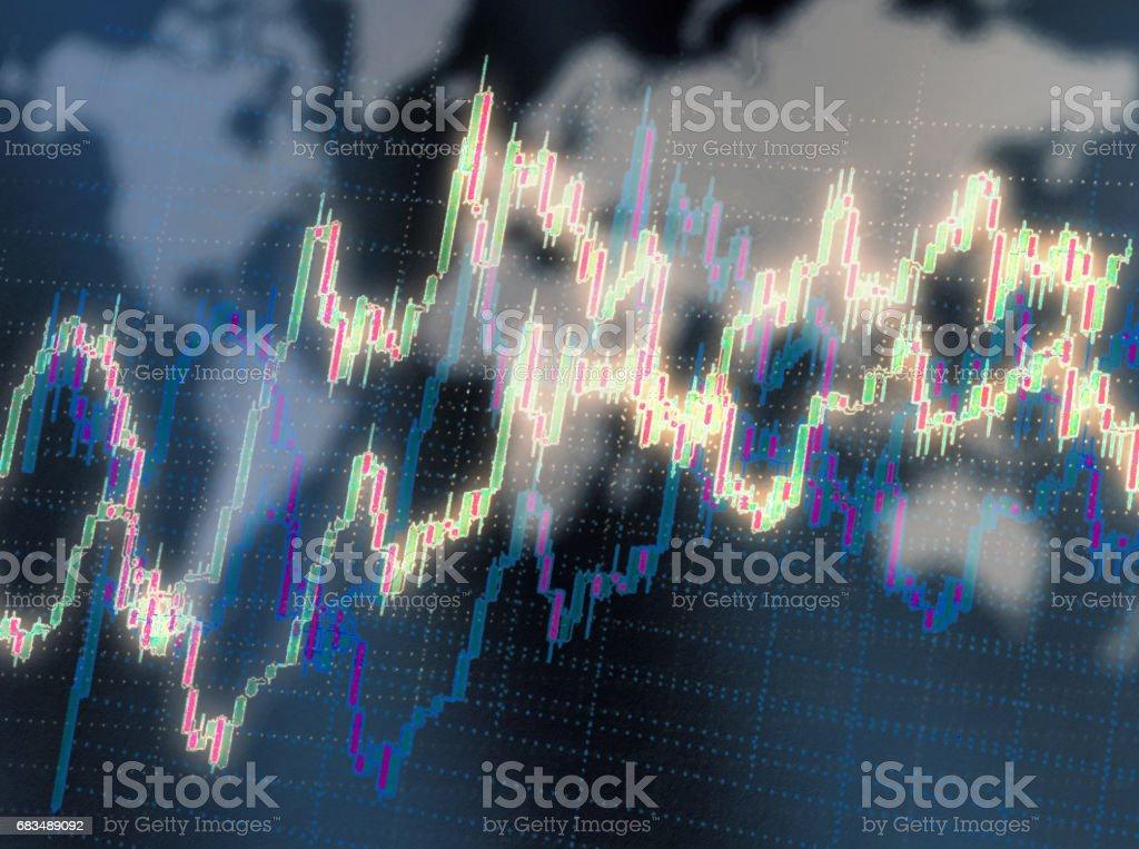 Candlestick chart graphic stock photo