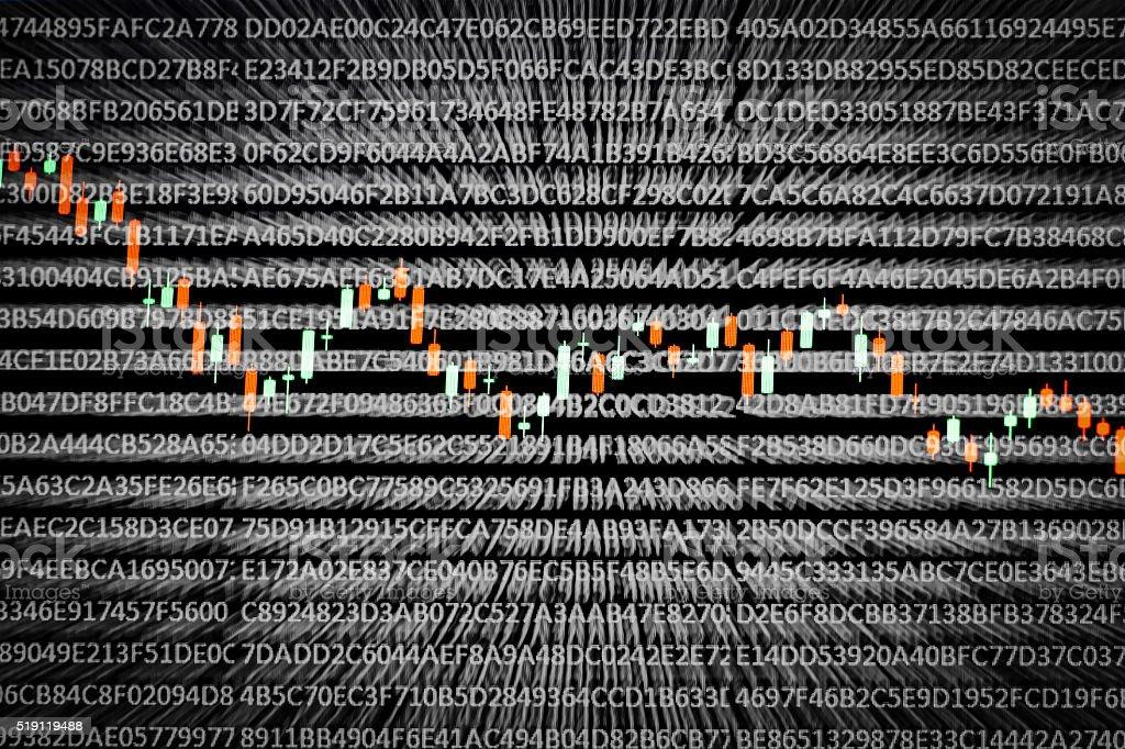Candlestick charts on black random hexadecimal number background stock photo