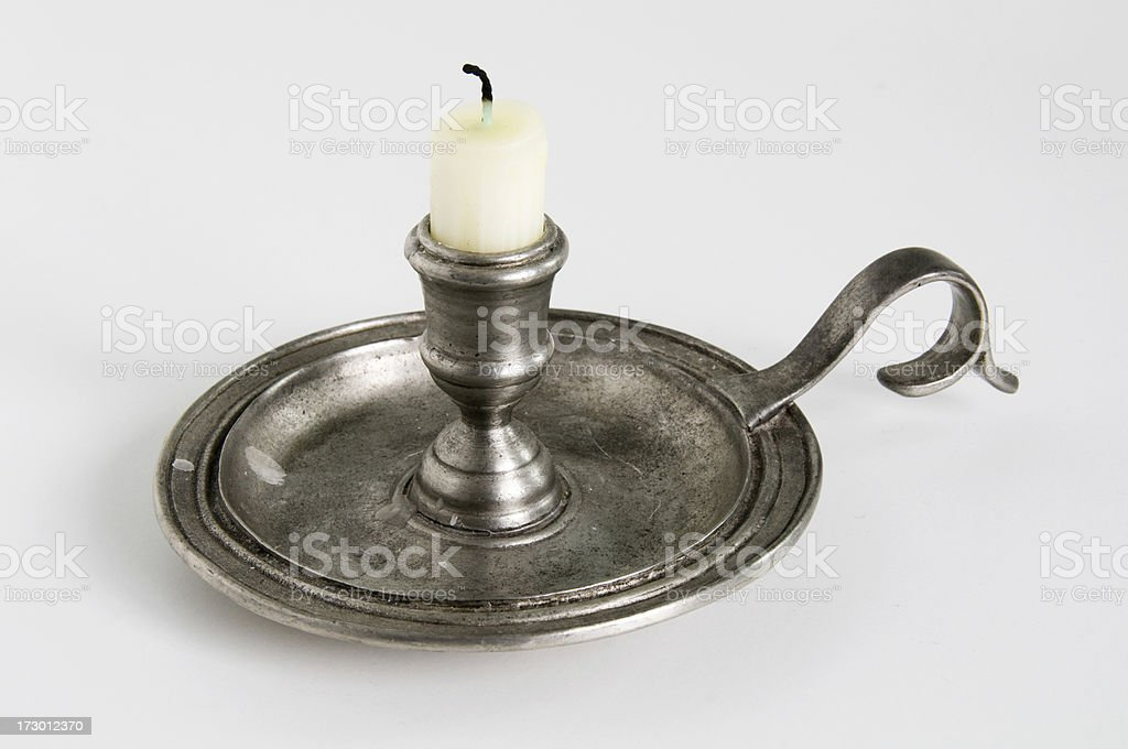 Candlestick holder pewter traditional isolated on white royalty-free stock photo