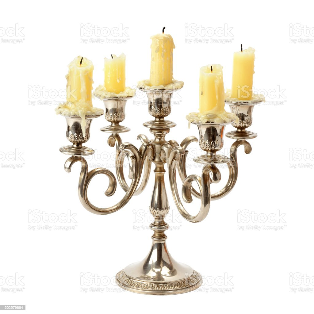 candlestick isolated on white background stock photo