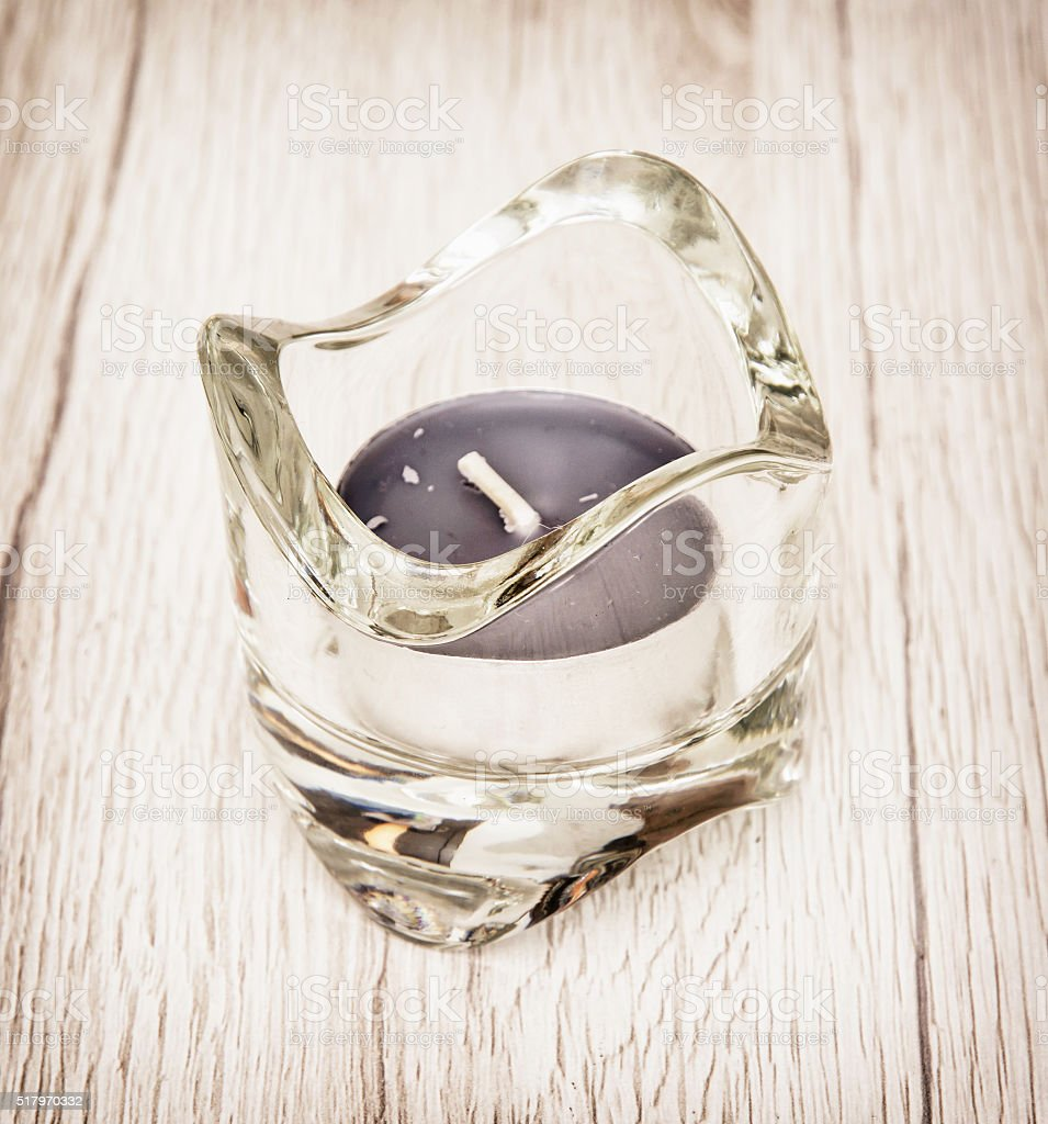 Candlestick of glass with tea lights, decoration in home stock photo