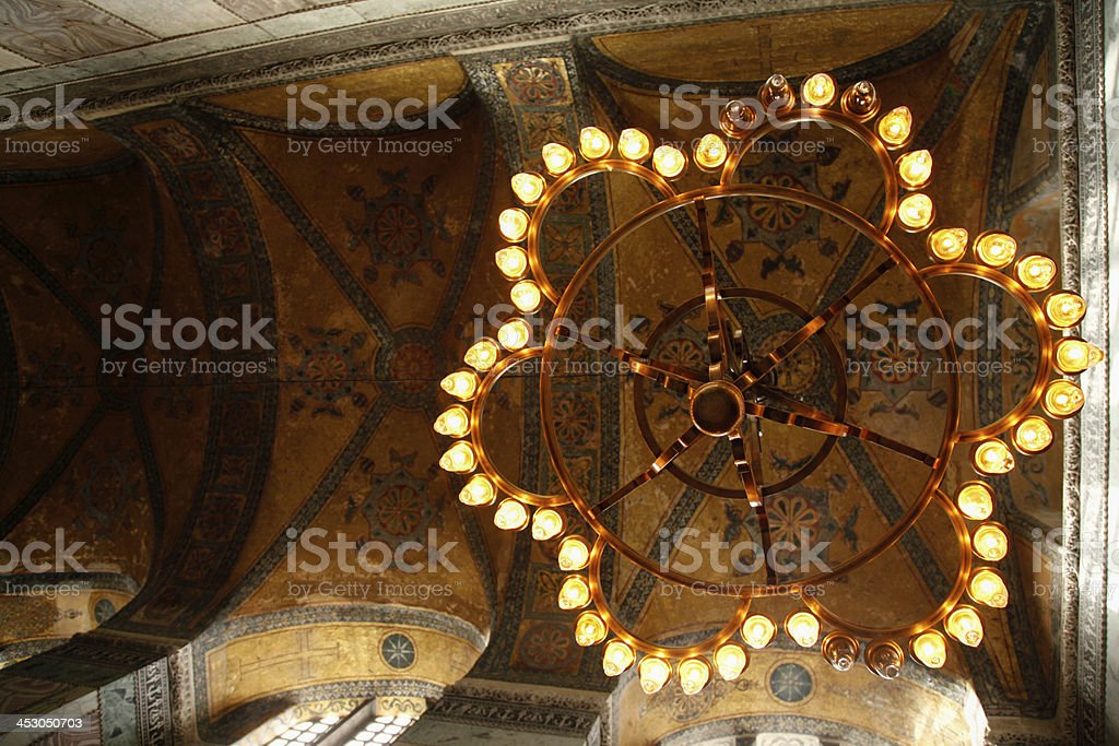 candlesticks of Hagia Sophia, Istanbul royalty-free stock photo