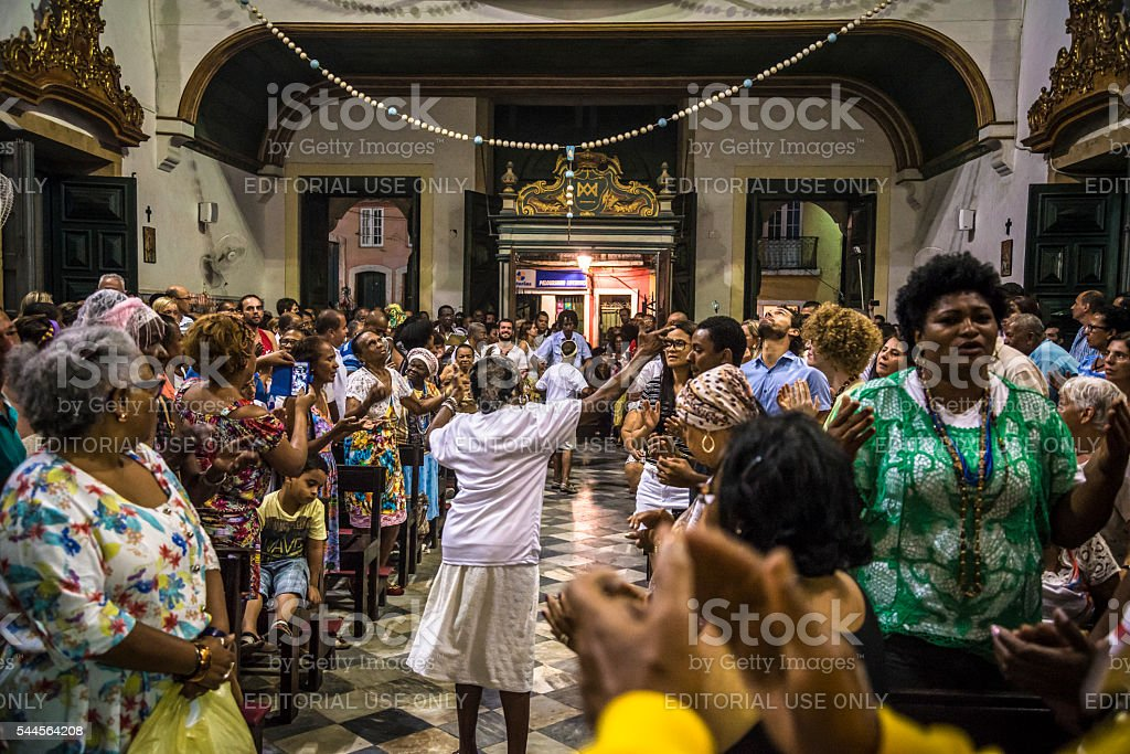 Candomblé ceremony in church, Salvador, Bahia, Brazil stock photo