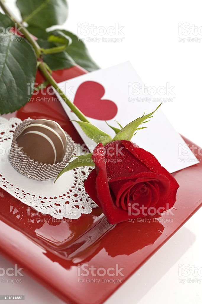 Candy and Flowers for Valentine's Day stock photo