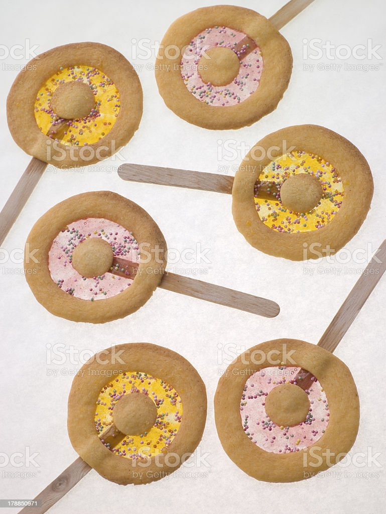 Candy and Shortbread Biscuit Lollipops royalty-free stock photo