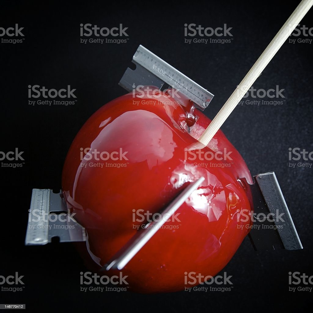 Candy Apple with Razor Blades royalty-free stock photo