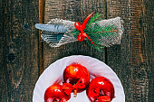 Candy apples on christmas table
