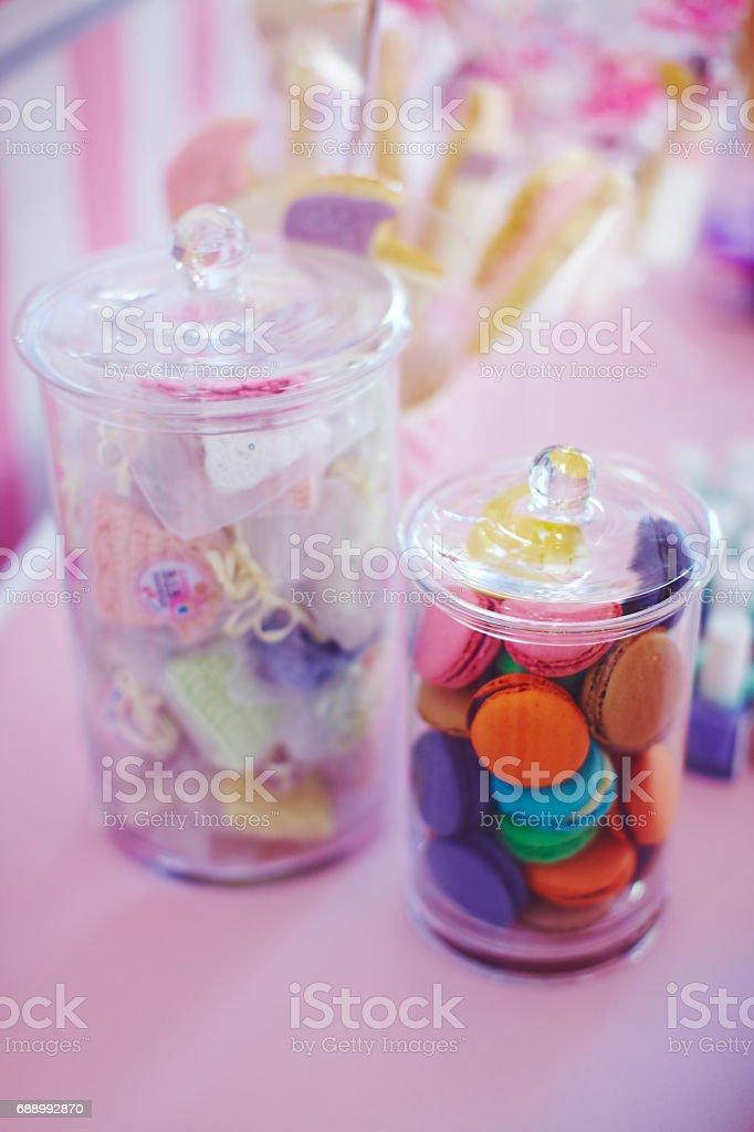 Candy bar's detail at girls birthday stock photo
