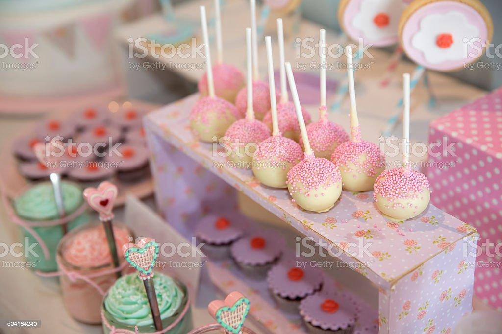 Candy buffet lollipops stock photo