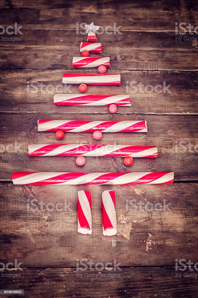 Candy Cane Christmas Tree Decoration stock photo