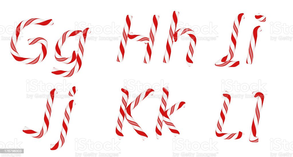 Candy cane font G - L letters isolated royalty-free stock photo