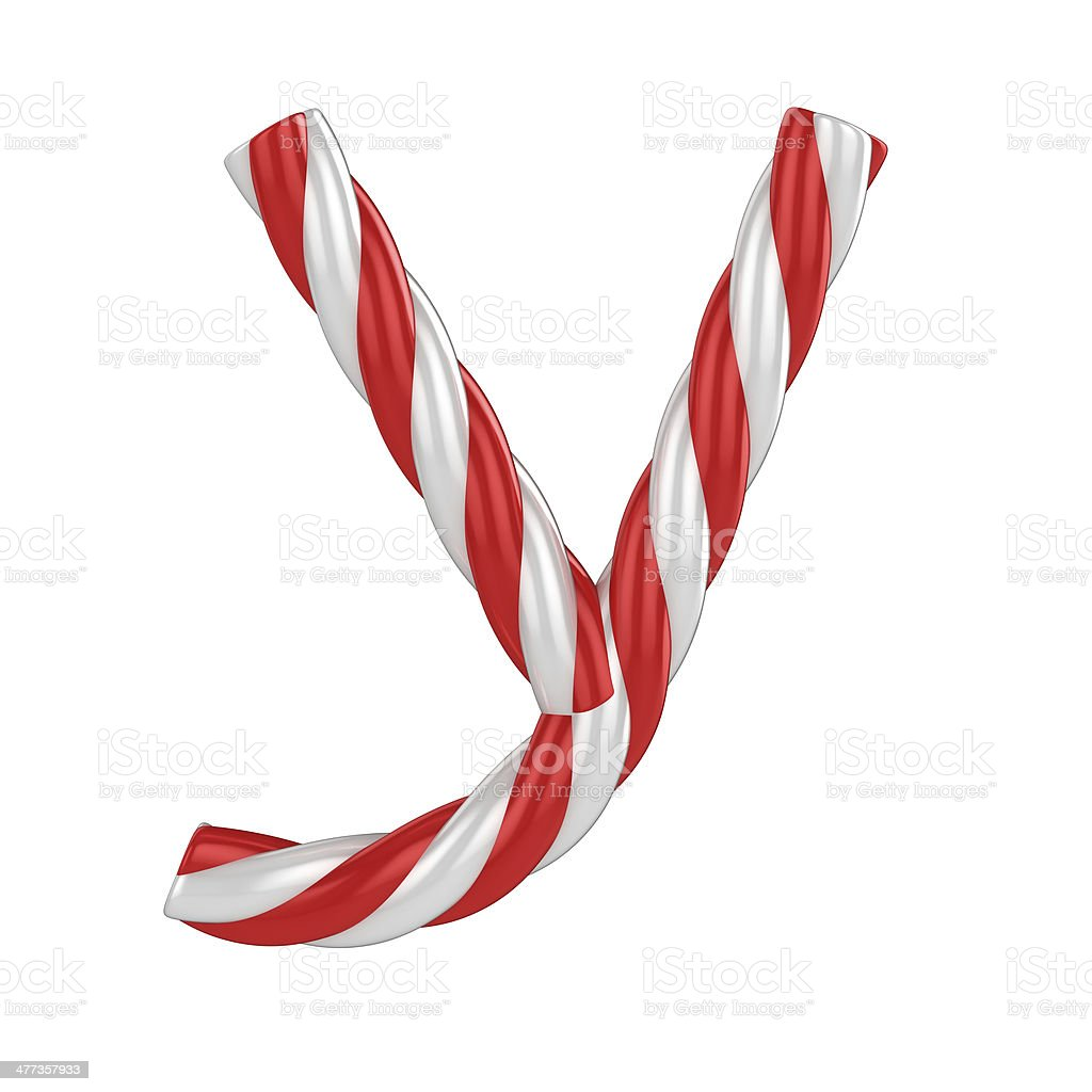 candy cane font - letter Y stock photo