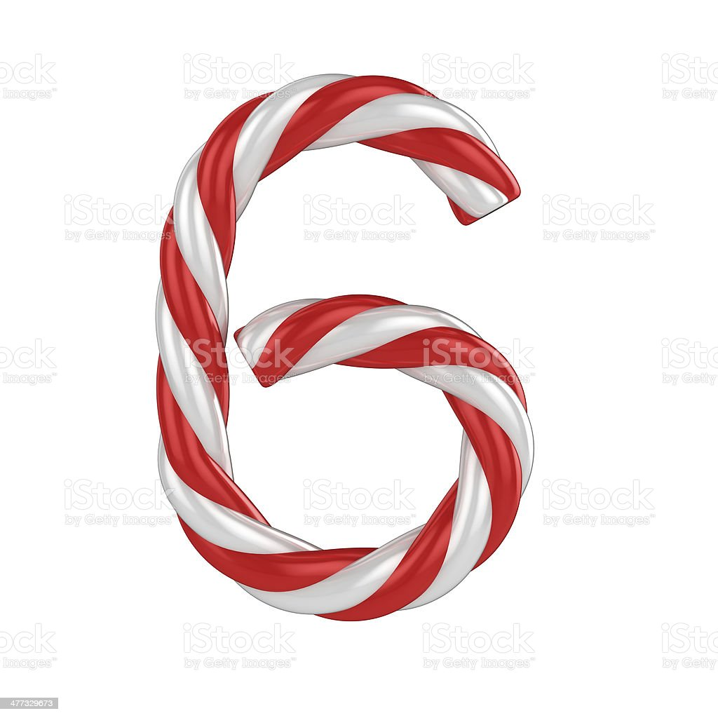 candy cane font - number 6 stock photo
