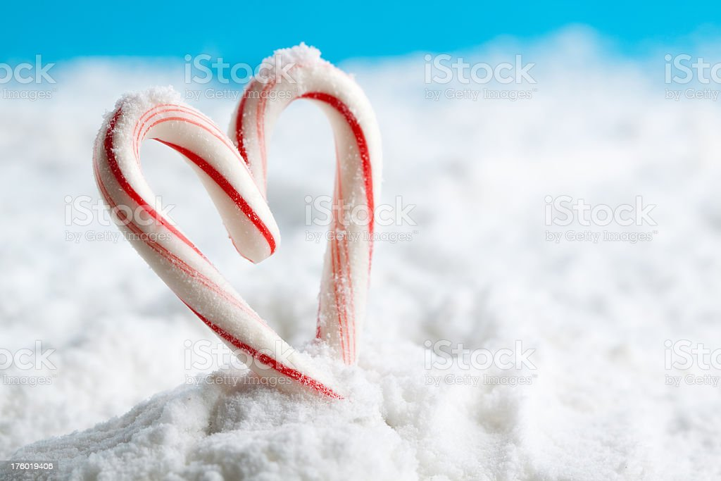 candy cane heart on snow royalty-free stock photo