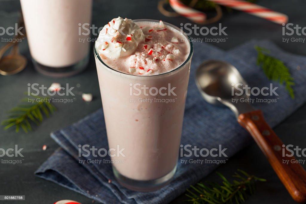 Candy Cane Peppermint Milkshake stock photo