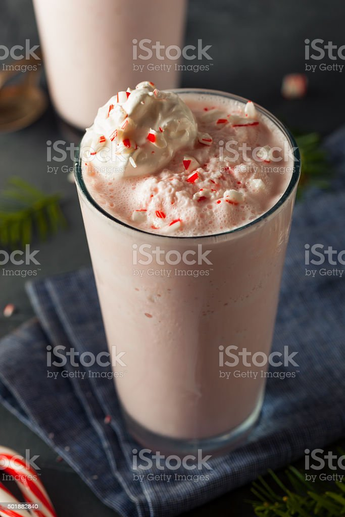Candy Cane Peppermint Milkshake stock photo