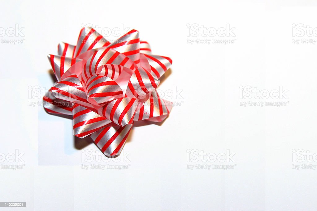 Candy Cane Striped Bow royalty-free stock photo