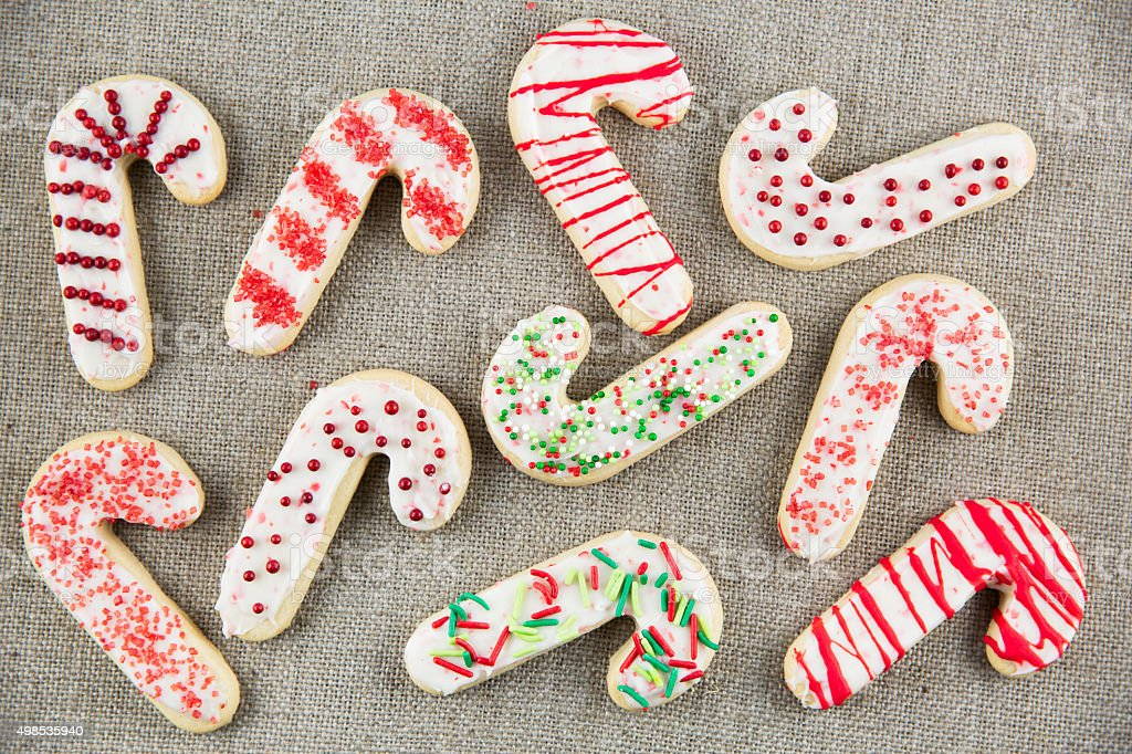 Candy Cane Sugar Cookies stock photo