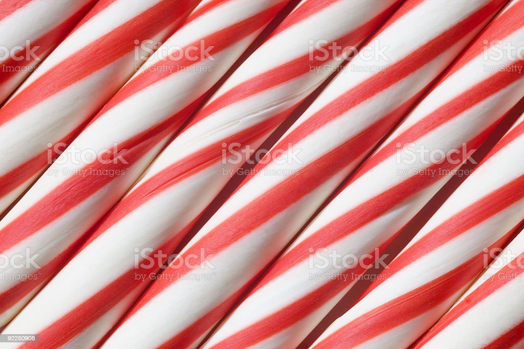 Candy Canes Diagonal Close-up royalty-free stock photo