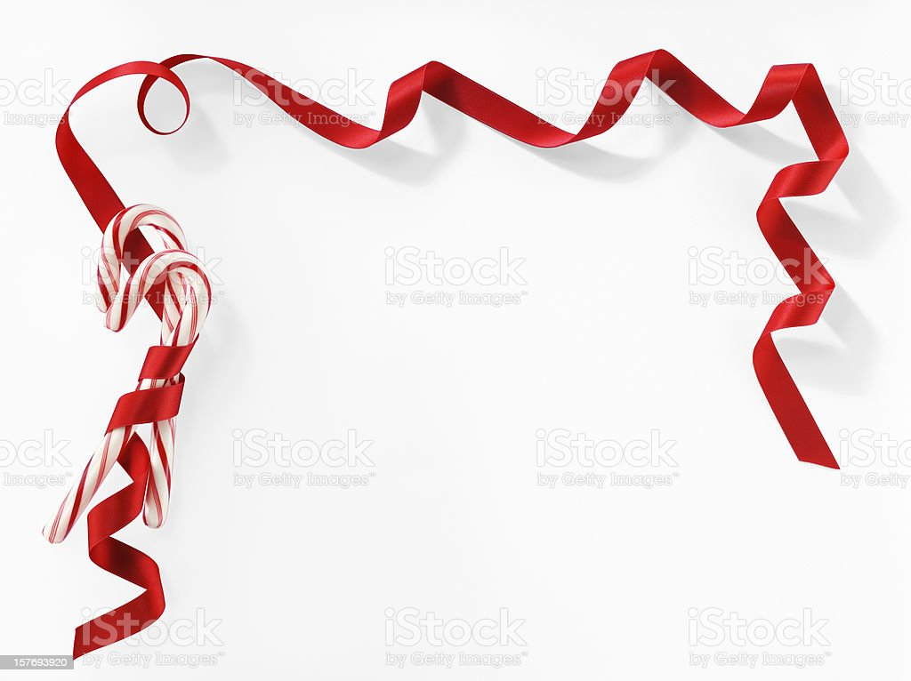 Candy Canes Greeting Card On White Background.Color Image stock photo