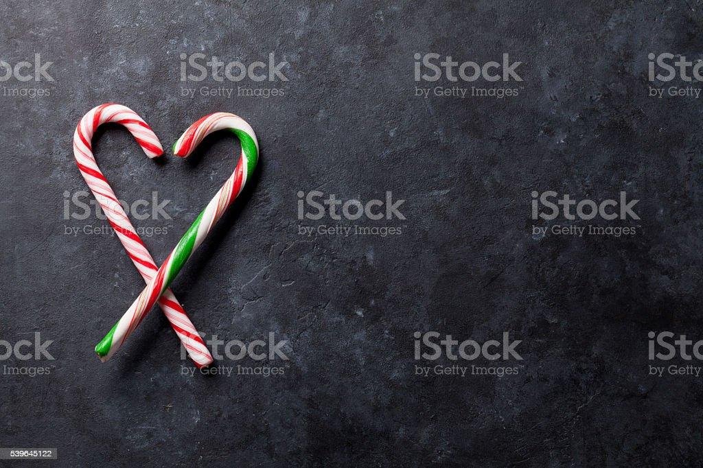 Candy canes heart stock photo