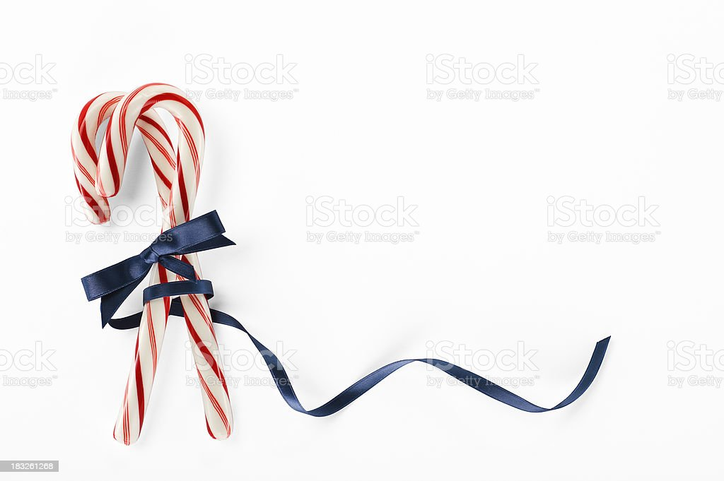 Candy Canes With A Blue Ribbon.Color Image stock photo