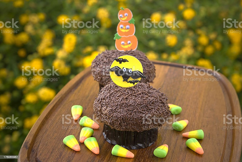 Candy Corn & Chocolate Halloween Cupcakes, Holiday Cake & Food Background royalty-free stock photo
