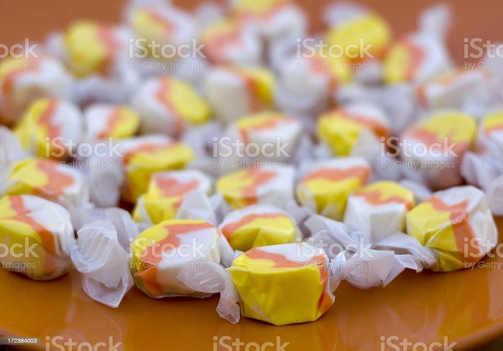 Candy Corn Taffy Halloween Treats, Holiday Trick or Treat Food stock photo
