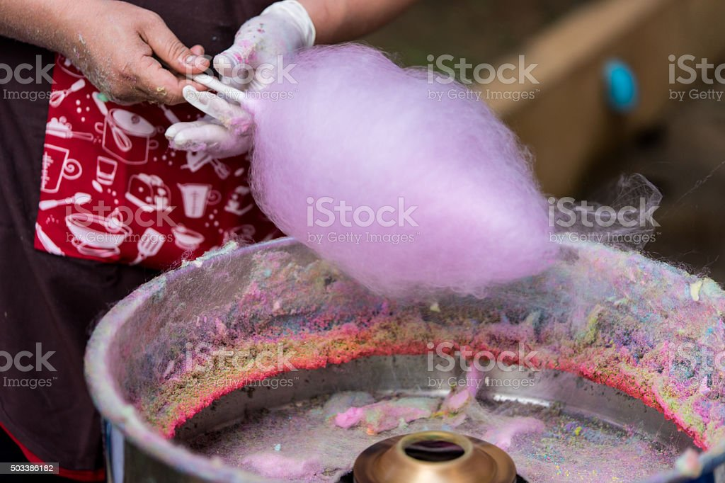 Candy floss machine with pink candyfloss stock photo