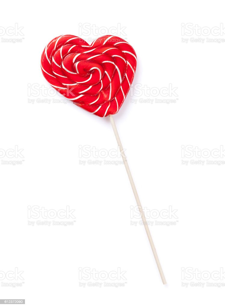 Candy heart lollipop stock photo