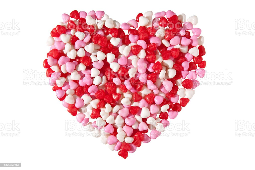 Candy Heart on White Background stock photo