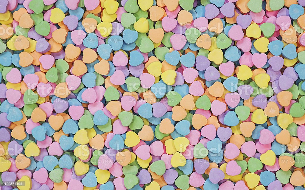 Candy Hearts background stock photo