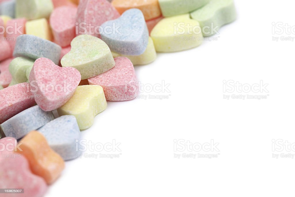 Candy hearts frame royalty-free stock photo