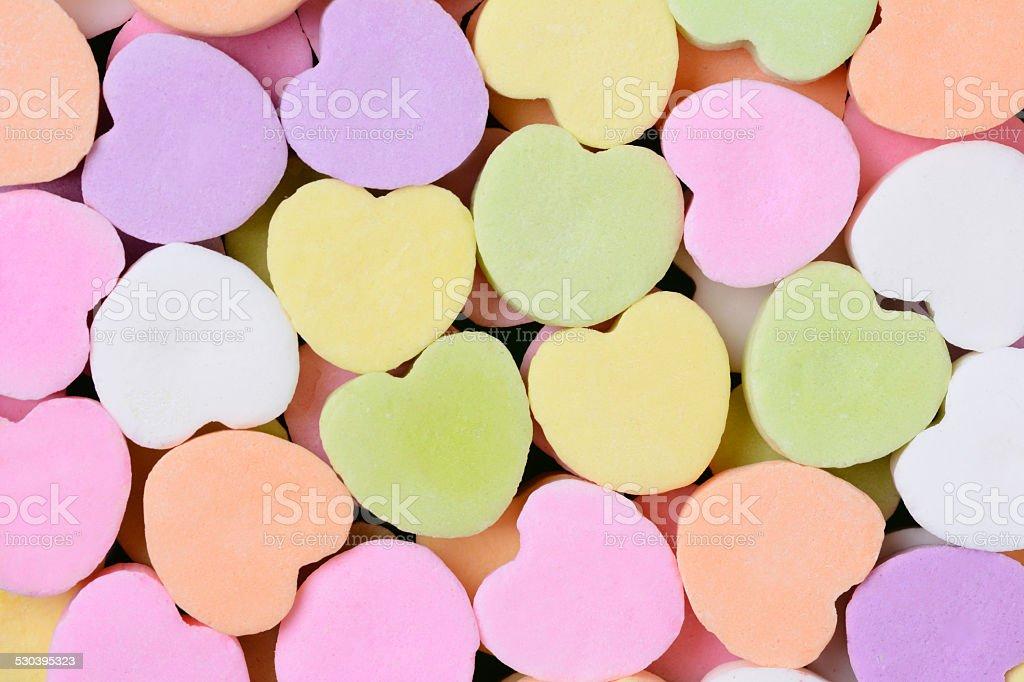 Candy Hearts Macro stock photo