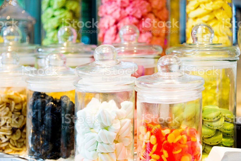 Candy in jar stock photo