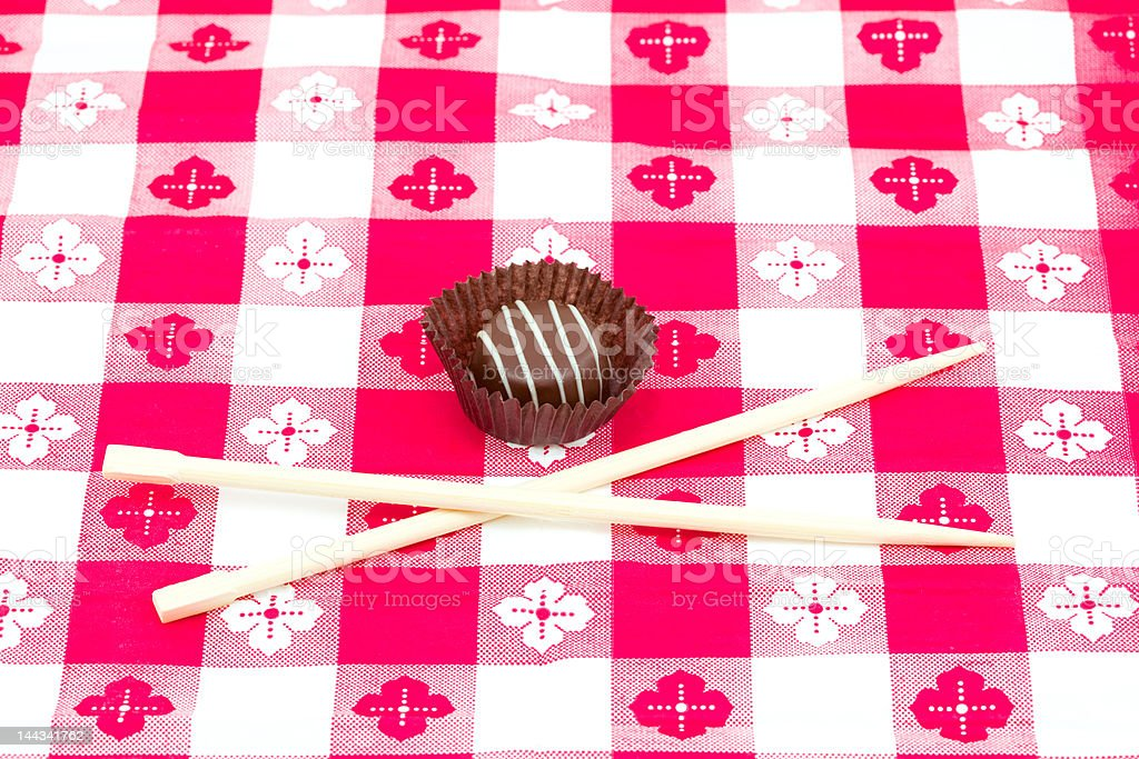 Candy Meal with Chopsticks stock photo