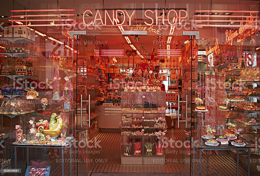 Candy shop in Brussels stock photo